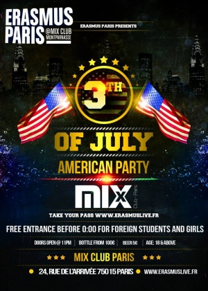 Erasmus Paris : American Party Poster