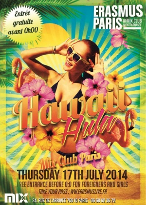 Erasmus Paris : Hawaiian Party Poster