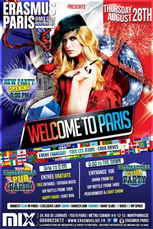 International Pub Party - Welcome to Paris Poster