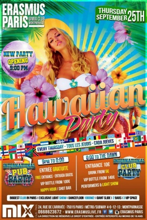 Nouvelle Soirée Ouverture 21h00 - International Pub Party - Hawaiian Party Poster