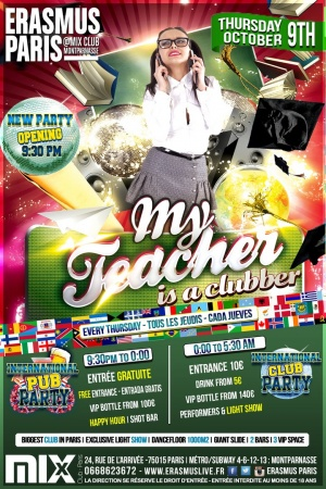Erasmus Paris My Teacher is a Clubber Poster