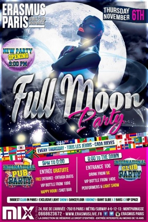 Erasmus Paris - Full Moon Party Poster