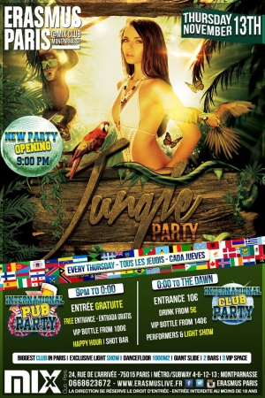 Erasmus Paris - Jungle Party Poster