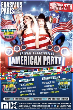 Erasmus Paris - American Thanksgiving Party Poster