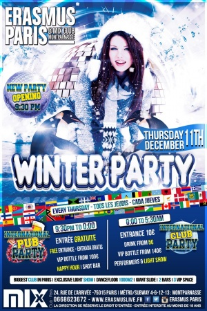 Erasmus Paris - Winter Party Poster